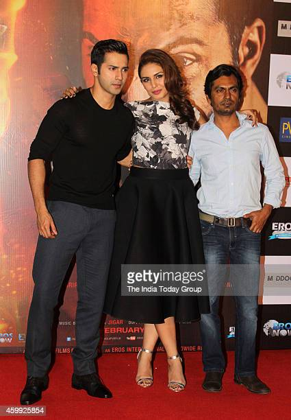Varun Dhawan Huma Qreshi and Nawazuddin Siddique at the teaser launch of their movie Badlapur