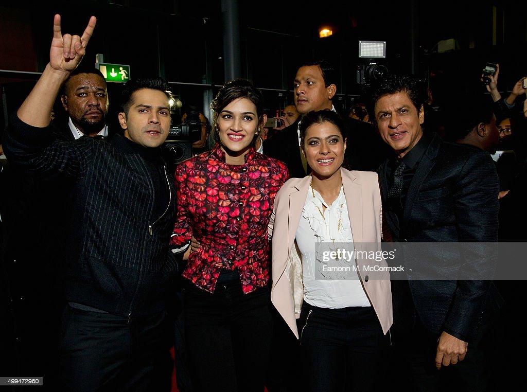 Varun Dhawan Kriti Sanon Kajol and Shah Rukh Khan attend Photocall for Bollywood film 'Dilwale' at Cineworld Feltham on December 1 2015 in Fel