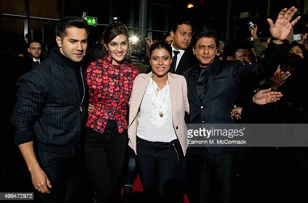 Varun Dhawan Kriti Sanon Kajol and Shah Rukh Khan attend Photocall for Bollywood film Dilwale at Cineworld Feltham on December 1 2015 in Feltham...