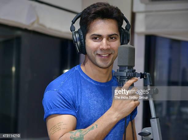 Varun Dhawan recording a rap song for his upcoming movie ABCD 2 in Mumbai