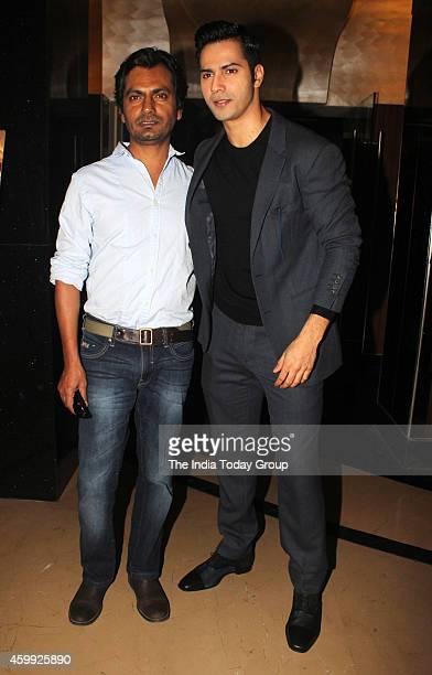 Varun Dhawani and Nawazuddin Siddique at the teaser launch of their movie Badlapur'