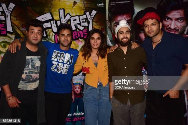 Varun Sharma Pulkit Samrat Richa Chadda Manjot Singh and Ali Fazal spotted promoting the film Fukrey Returns at Mehboob studios Bandra in Mumbai