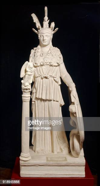 Varvakeion Athena from Athens 2nd century Stauette of Athena Parthenos dressed in sleeveless peplos girt at the waist with two snakes She wears aegis...