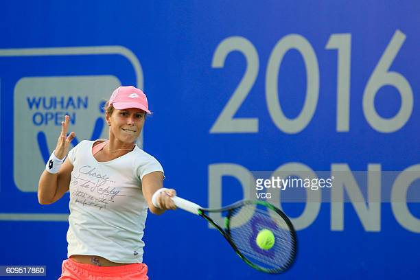 Varvara Lepchenko of the United States attends a training session at Optics Valley International Tennis Center ahead of the 2016 WTA Dongfeng Motor...