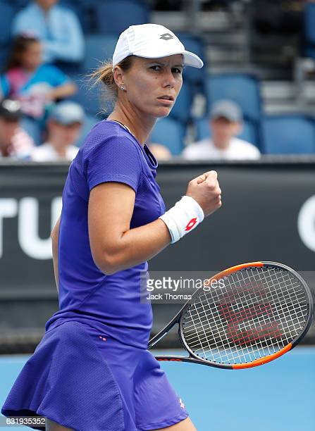 Varvara Lepchenko of the United States celebrates a point in her second round match against Ying-Ying Duan of China on day three of the 2017...
