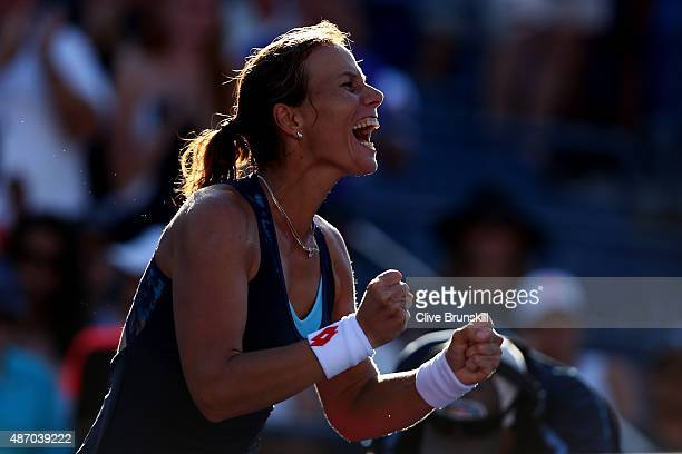 Varvara Lepchenko of the United States celebrates after defeating Mona Barthel of Germany in their Women's Singles Third Round match on Day Six of...