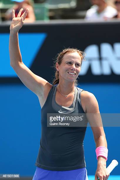 Varvara Lepchenko of the United States celebrates in her second round match against Ajla Tomljanovic of Australia during day four of the 2015...