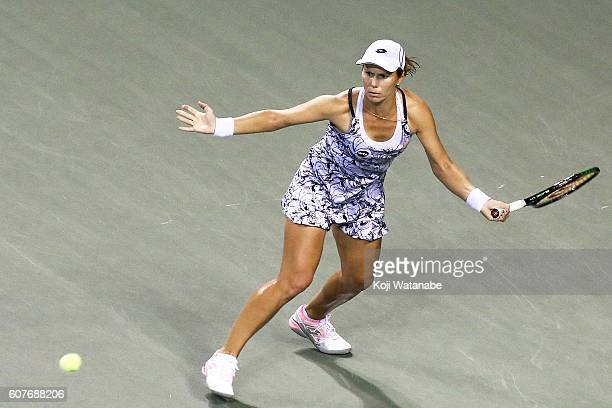 Varvara Lepchenko of the United States competes against Monica Puig of Puerto Rico during women's singles match day one of the Toray Pan Pacific Open...