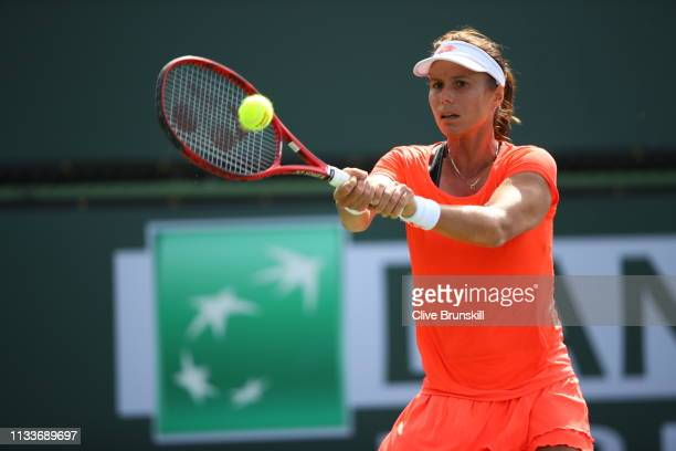 Varvara Lepchenko of the United States in action during her first round qualifying match against Zarina Diyas of Kazakhstan on Day 1 of the BNP...