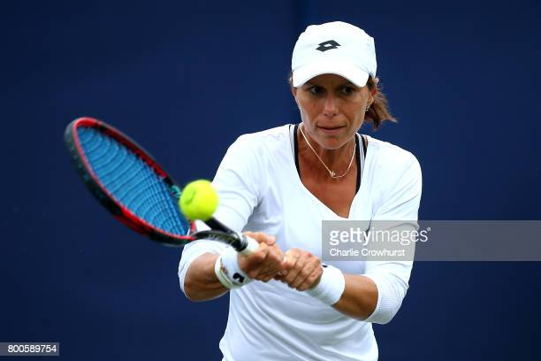 Varvara Lepchenko of the United States in action during her qualifying match against Risa Ozaki of Japan during Qualifying on Day 2 of The Aegon...