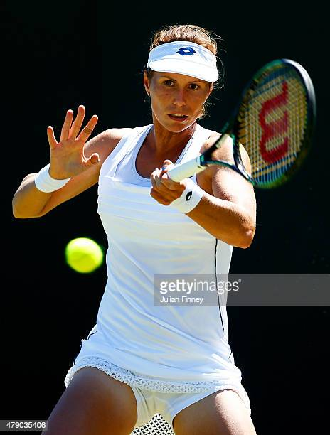 Varvara Lepchenko of the United States in action in her Ladies Singles first round match against Garbine Muguruza of Spain during day two of the...