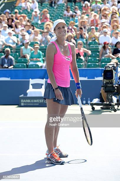 Varvara Lepchenko of the United States of America celebrates after her victory against Agnieszka Radwanska of Poland during Day 3 of the Bank of the...