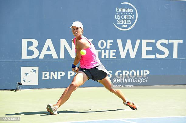 Varvara Lepchenko of the United States of America plays against Agnieszka Radwanska of Poland during Day 3 of the Bank of the West Classic at the...