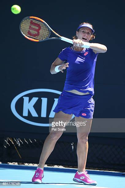 Varvara Lepchenko of the United States plays a backhand in her first round match against Kiki Berterns of the Netherlands on day one of the 2017...