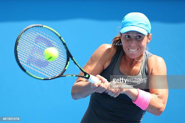 Varvara Lepchenko of the United States plays a backhand in her second round match against Ajla Tomljanovic of Australia during day four of the 2015...