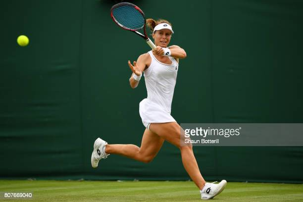 Varvara Lepchenko of The United States plays a forehand during the Ladies Singles first round match against Lauren Davis of the United States on day...