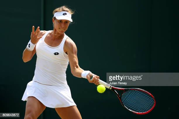 Varvara Lepchenko of The United States plays a forehand during the Ladies Singles second round match against Polona Hercog of Slovenia on day four of...