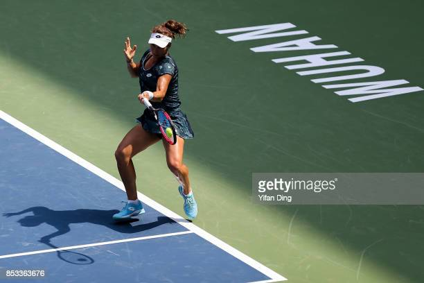 Varvara Lepchenko of the United States plays a forehand during the match against Madison Keys of the United States on Day 2 of 2017 Dongfeng Motor...