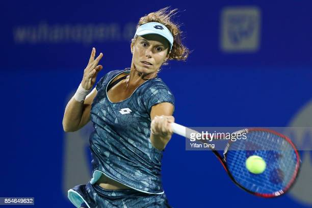 Varvara Lepchenko of the United States plays a forehand during the third round Ladies Singles match against Alize Cornet of France on Day 4 of 2017...