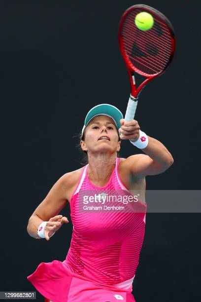 Varvara Lepchenko of the United States plays a forehand in her match against Mayo Hibi of Japan during day two of the WTA 500 Gippsland Trophy at...
