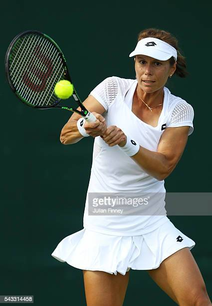 Varvara Lepchenko of The United States plays a forehand shot during the Men's Singles first round match against Teliana Pereira of Brazil on day one...