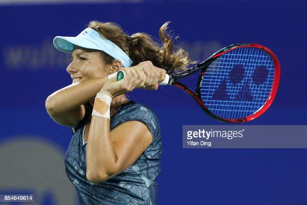 Varvara Lepchenko of the United States reaches out for the ball during the third round Ladies Singles match against Alize Cornet of France on Day 4...