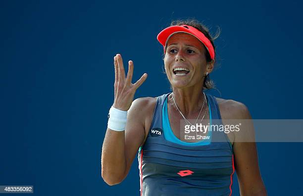 Varvara Lepchenko of the United States reacts after losing a point during her match against Mona Barthel of Germany during Day 5 of the Bank of the...