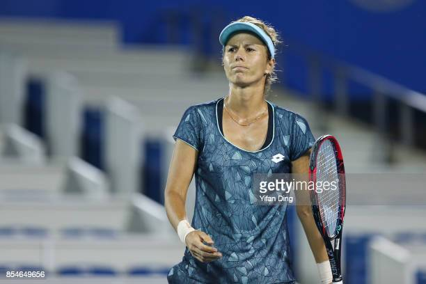 Varvara Lepchenko of the United States reacts during the third round Ladies Singles match against Alize Cornet of France on Day 4 of 2017 Dongfeng...