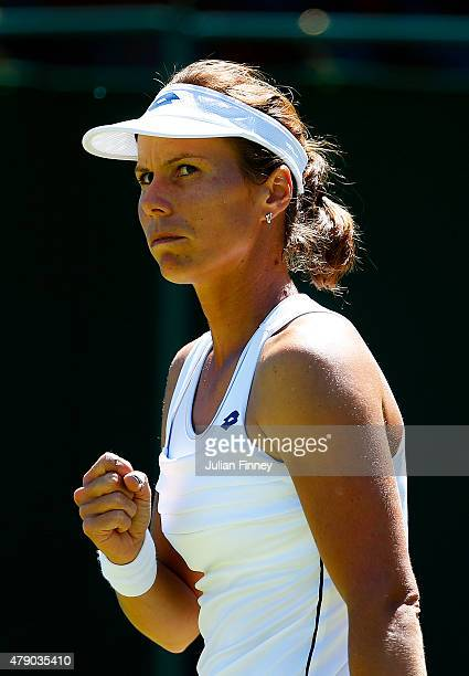 Varvara Lepchenko of the United States reacts in her Ladies Singles first round match against Garbine Muguruza of Spain during day two of the...