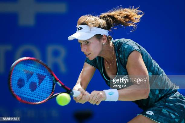 Varvara Lepchenko of the United States returns a shot during the match against Madison Keys of the United States on Day 2 of 2017 Dongfeng Motor...