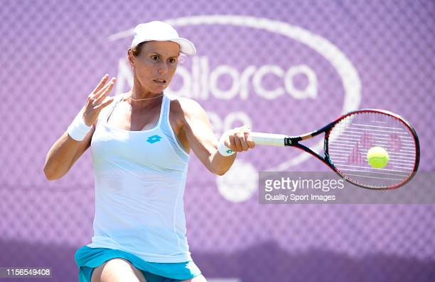 Varvara Lepchenko of the United States returns a shot in her ladies singles first round match against Kurumi Nara of Japan during day one of the 2019...