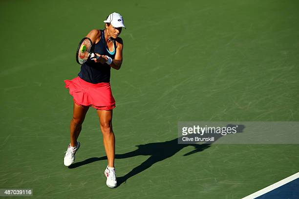 Varvara Lepchenko of the United States returns a shot to Mona Barthel of Germany during their Women's Singles Third Round match on Day Six of the...
