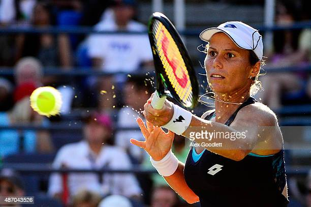 Varvara Lepchenko of the United States returns a shot to Mona Barthel of Germany in their Women's Singles Third Round match on Day Six of the 2015 US...