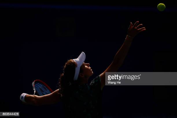 Varvara Lepchenko of the United States serves against Madison Keys of the United States on Day 2 of 2017 Dongfeng Motor Wuhan Open at Optics Valley...