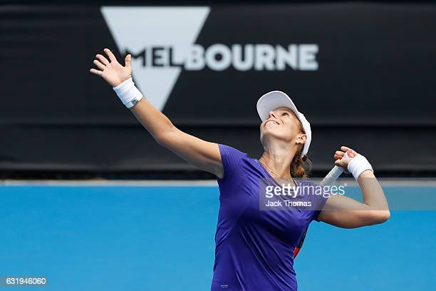 Varvara Lepchenko of the United States serves in her second round match against YingYing Duan of China on day three of the 2017 Australian Open at...