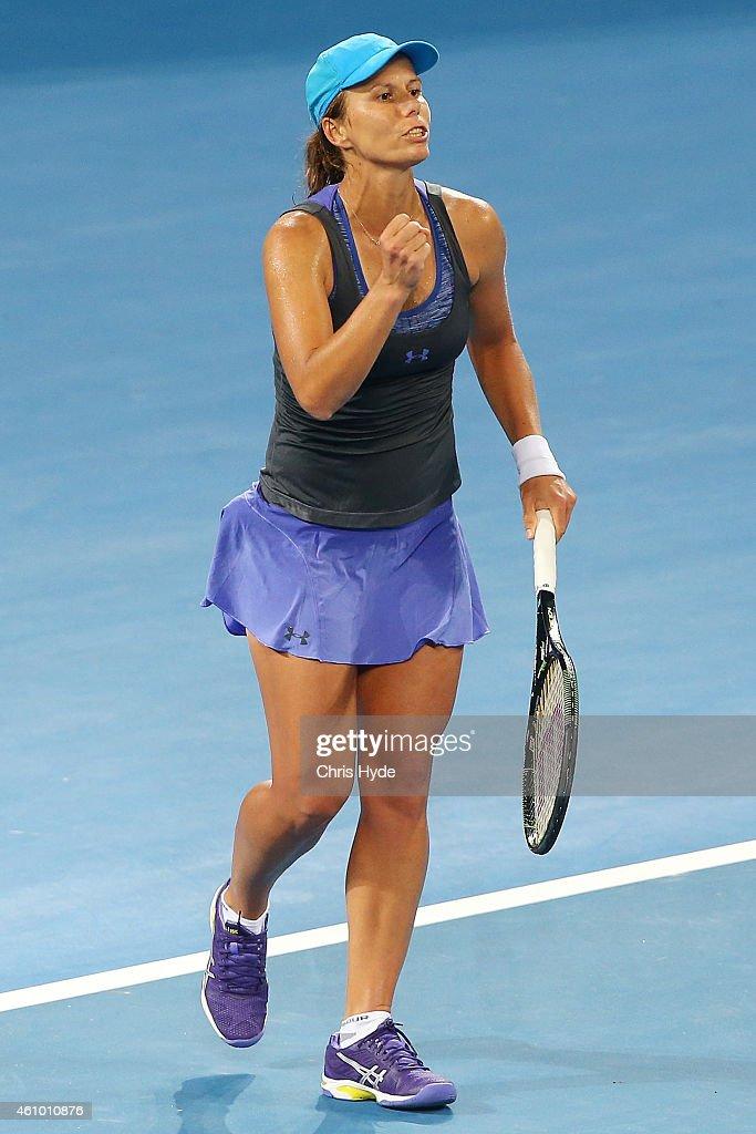 Varvara Lepchenko of the USA celebrates winning her match against Samantha Stosur of Australia during day one of the 2015 Brisbane International at Pat Rafter Arena on January 4, 2015 in Brisbane, Australia.