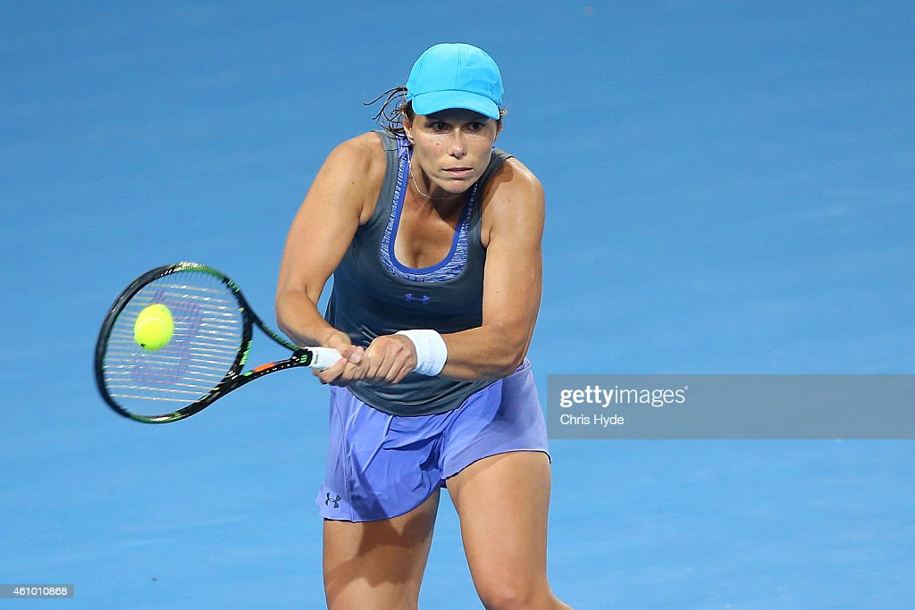 Varvara Lepchenko of the USA plays a backhand in her match against Samantha Stosur of Australia during day one of the 2015 Brisbane International at Pat Rafter Arena on January 4, 2015 in Brisbane, Australia.