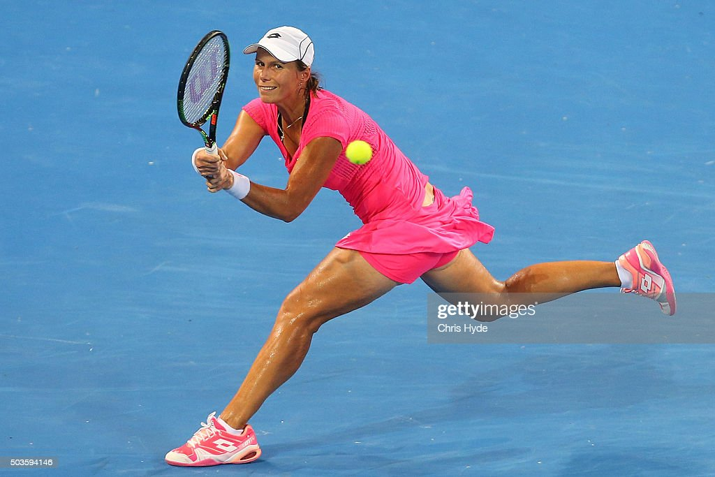 Varvara Lepchenko of the USA plays a backhand in her match against Garbine Muguruza of Spain during day four of the 2016 Brisbane International at Pat Rafter Arena on January 6, 2016 in Brisbane, Australia.