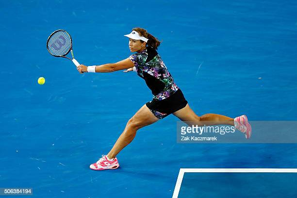 Varvara Lepchenko of United States of America plays a backhand in her third round match against Shuai Zhang of China during day six of the 2016...