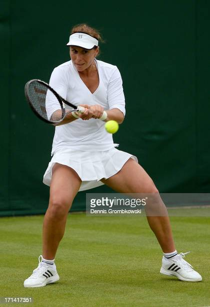 Varvara Lepchenko of USA hits a backhand during the Ladies Singles first round match against Eva Birnerova of Czech Republic on day one of the...
