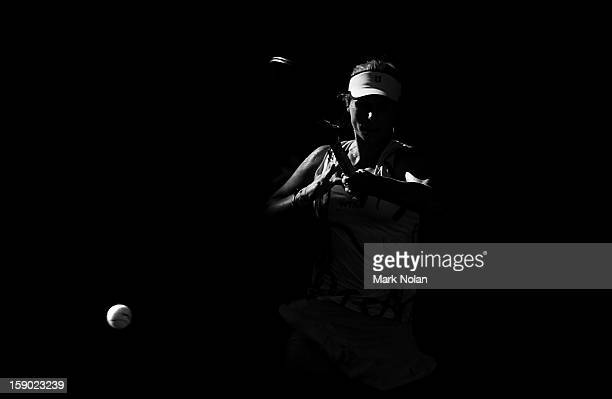 Varvara Lepchenko of USA play a forehand in her first round match against Ekaterina Makarova of Russia during day one of the Sydney International at...