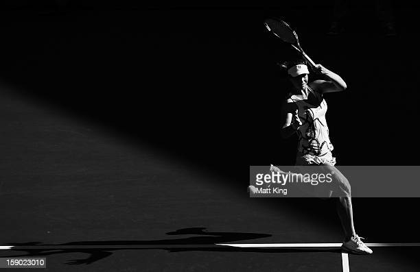 Varvara Lepchenko of USA plays a forehand in her first round match against Ekaterina Makarova of Russia during day one of the Sydney International at...