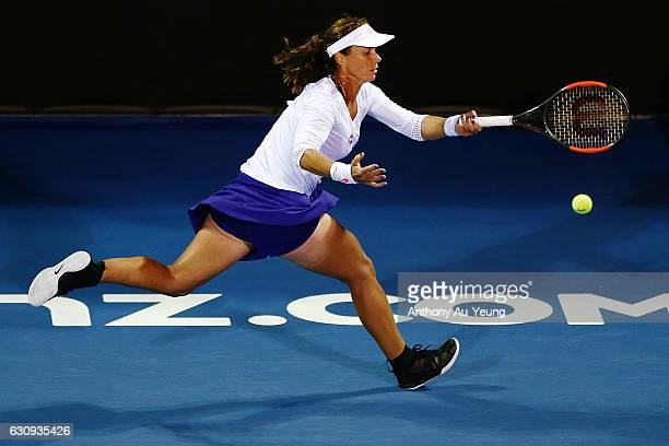 Varvara Lepchenko of USA plays a shot in her match against Caroline Wozniacki of Denmark on day three of the ASB Classic on January 4 2017 in...
