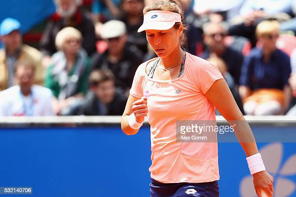 Varvara Lepchenko of USA reacts during her match against Sabine Lisicki of Germany during day five of the Nuernberger Versicherungscup 2016 on May 18...