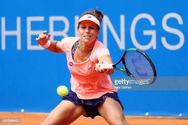 Varvara Lepchenko of USA returns the ball to Sabine Lisicki of Germany during day five of the Nuernberger Versicherungscup 2016 on May 18 2016 in...
