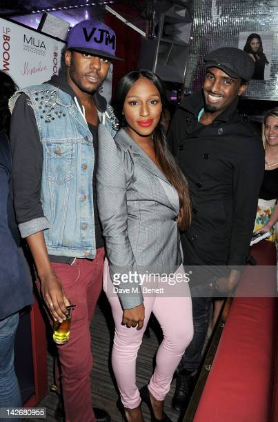 Vas J Morgan Alexandra Burke and Mason Smillie attend the launch of LIPBOOM created with Alexandra Burke by MUA Cosmetics at The Rose Club on April...