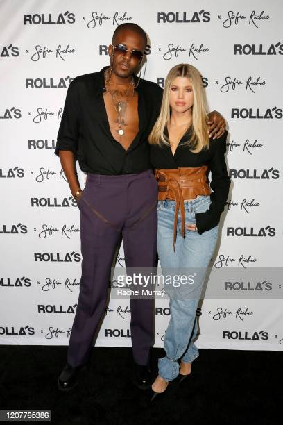 Vas J Morgan and Sofia Richie attend Rolla's x Sofia Richie Launch Event at Harriet's Rooftop on February 20 2020 in West Hollywood California