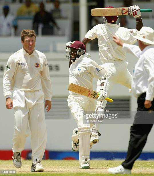 Vasbert Drakes of the West Indies celebrates the winning runs during day five of the fourth test between the West Indies and Australia played on May...