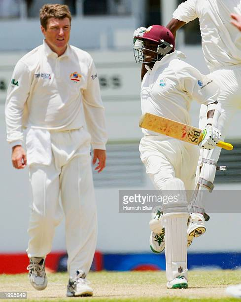 Vasbert Drakes of the West Indies celebrates their winning runs during day five of the Fourth Test between the West Indies and Australia played at...