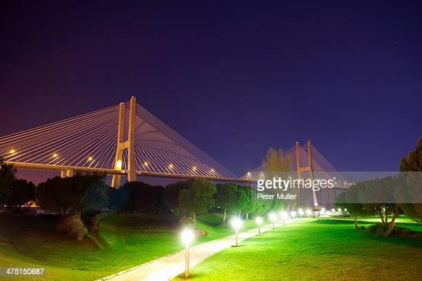 Vasco da Gama Bridge at night, Lisbon, Portugal